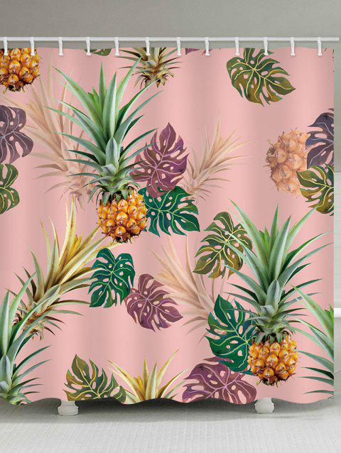 Tropical Leaf Pineapple Print Waterproof Shower Curtain - PINK W71 INCH * L79 INCH