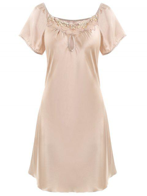 Keyhole Satin Sleeping Dress - CHAMPAGNE GOLD XL