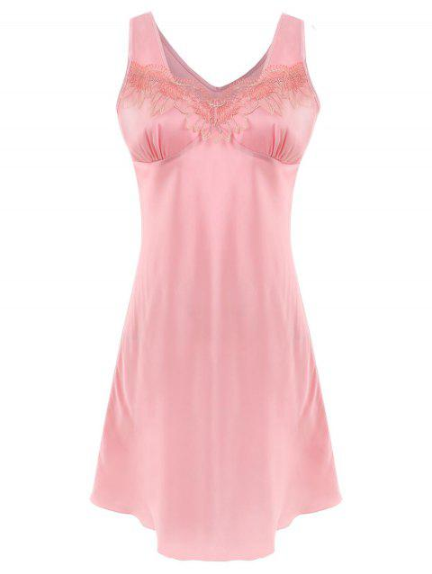 Satin Sleeveless Sleeping Dress - PINK L