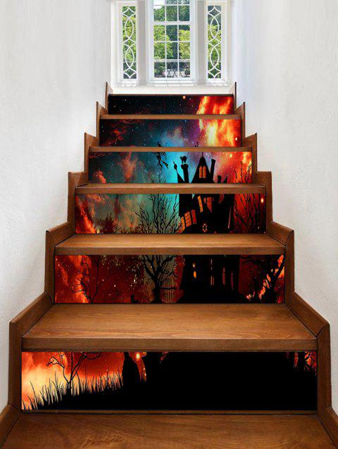 Halloween Castle Galaxy Pattern Stair Stickers - multicolor