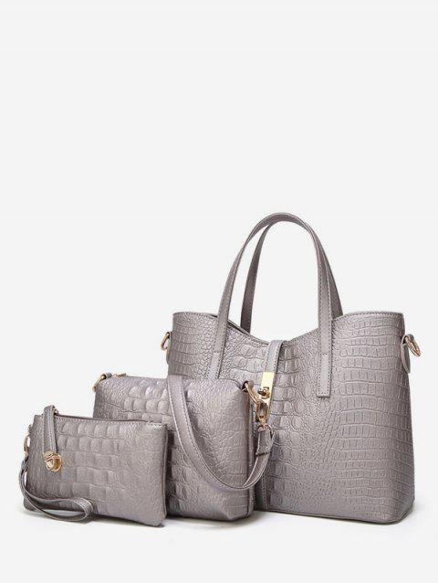 Crocodile Print 3 Pieces Shoulder Bag Set - GRAY