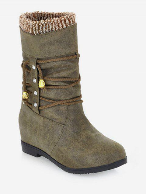 Plus Size Lace Wrap Hidden Heel Ankle Boots - DARK KHAKI 43