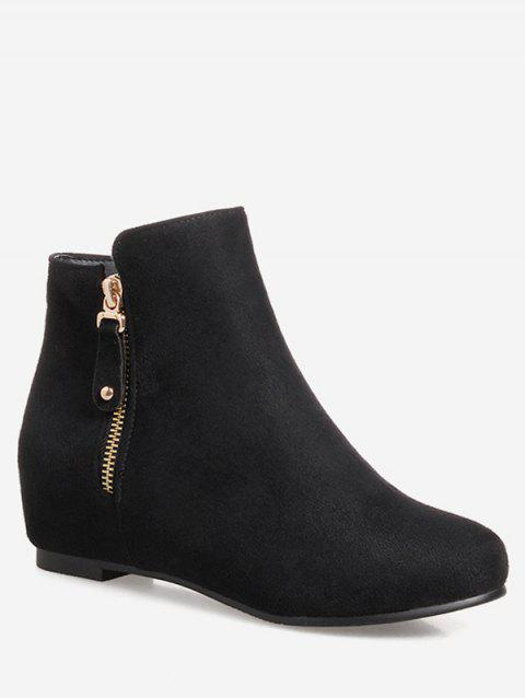 Plus Size Suede Solid Color Ankle Boots - BLACK 37