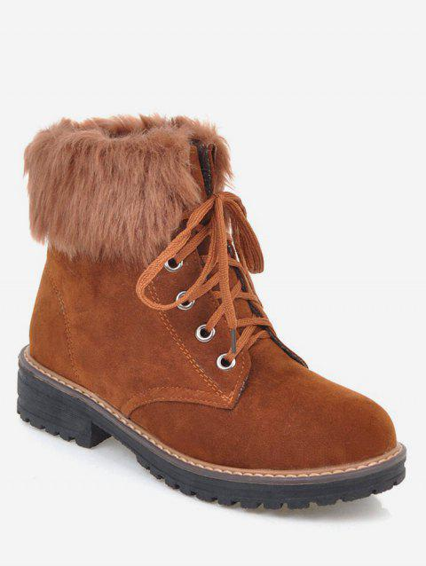 Plus Size Faux Fur Chunky Heel Short Boots - BROWN 38
