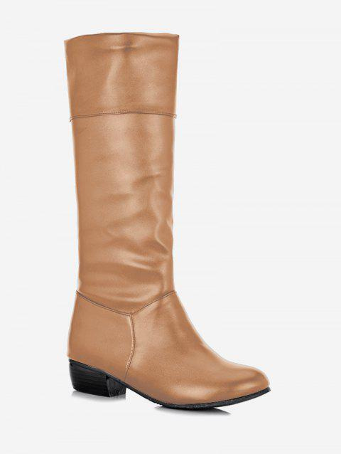 Plus Size Solid Color Fold Over Mid Calf Boots - CAMEL BROWN 43