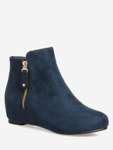 Plus Size Suede Solid Color Ankle Boots - MARBLE BLUE 37