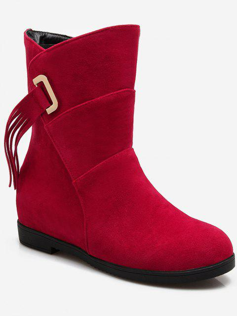 Plus Size Tassels Sewing Ankle Boots - RED WINE 42