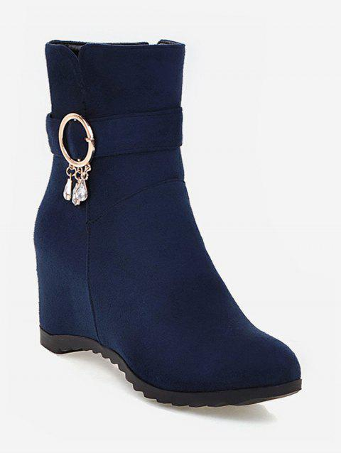 Plus Size Hidden Wedge Circle Buckle Ankle Boots - DARK SLATE BLUE 40