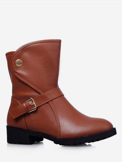 Plus Size PU Leather Buckle Strap Boots - BROWN 43