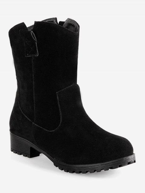 Plus Size Solid Color Suede Ankle Boots - BLACK 37