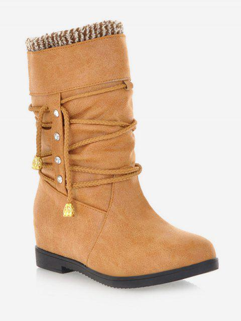 Plus Size Lace Wrap Hidden Heel Ankle Boots - LIGHT BROWN 37