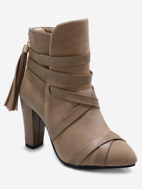 Plus Size Cross Strap Pointed Toe Ankle Boots - LIGHT KHAKI 38