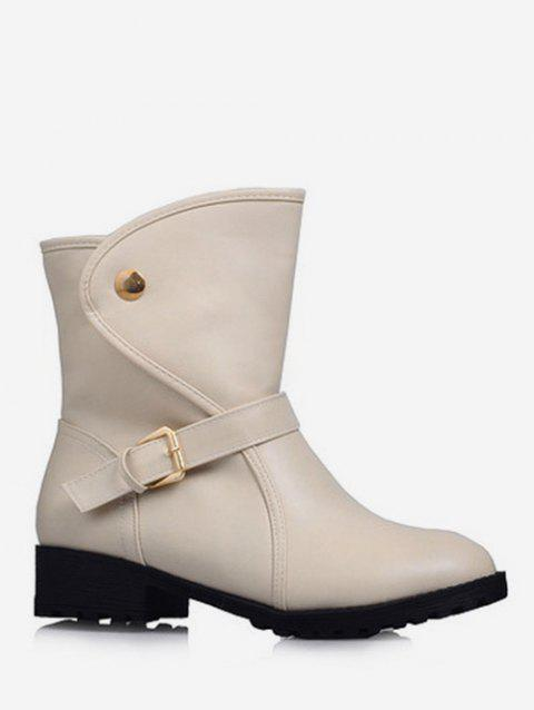 Plus Size PU Leather Buckle Strap Boots - BEIGE 37