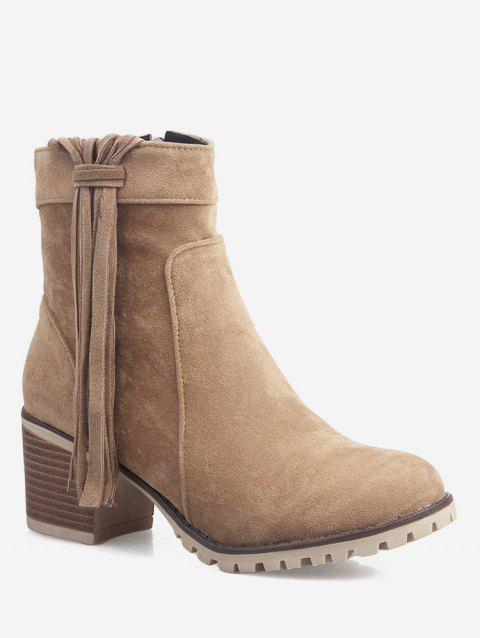 Plus Size Chunky Heel Suede Short Boots - LIGHT BROWN 42