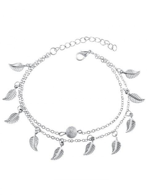 7a35092277d 41% OFF  2019 Metal Leaf Double Layers Ankle Bracelet In SILVER ...