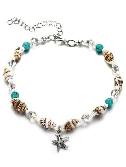 Faux Turquoise Sea Star Anklet Bracelet - multicolor