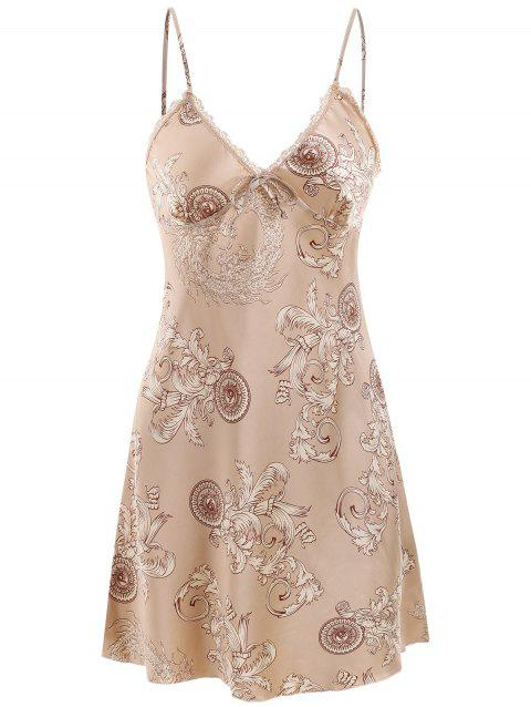 Satin Print Sleeping Dress - CHAMPAGNE XL