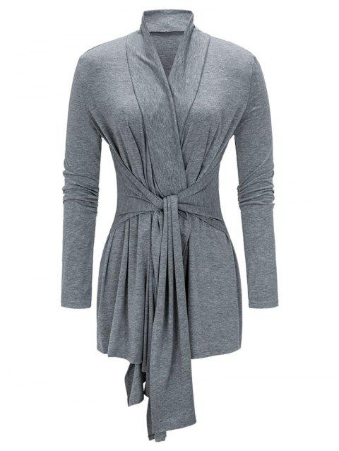 Tied Asymmetrical Coat - GRAY M