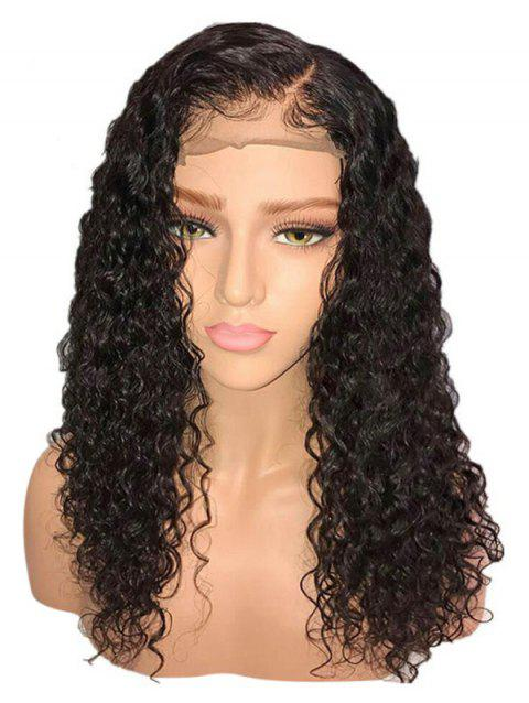Long Side Parting Curly Synthetic Fiber Lace Front Wig - BLACK 18INCH
