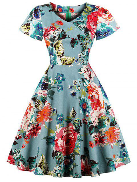 Short Sleeve Plus Size Floral Knee Length Dress - multicolor 2X