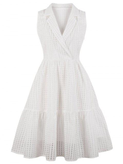 Sleeveless Plus Size Gingham A Line Dress - WHITE 2X