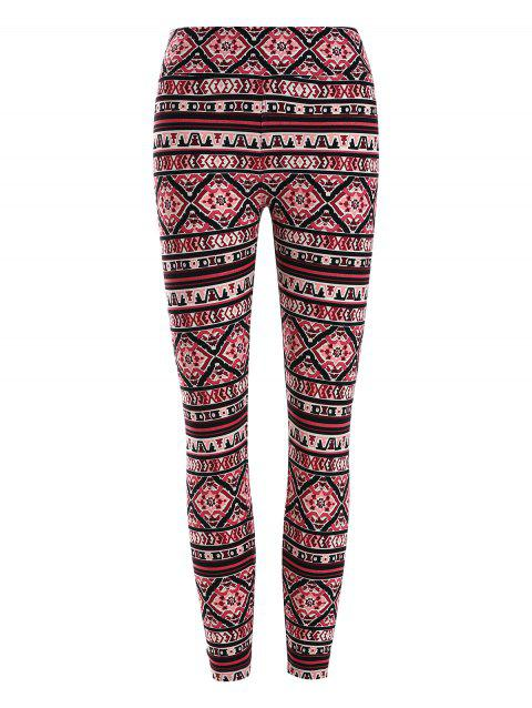Geometric Patterned Leggings - multicolor ONE SIZE