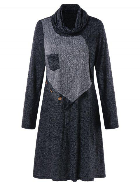 Turtleneck Marled Swing Dress - DARK GRAY 2XL