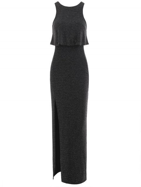 Sleeveless Sparkly Maxi Dress - BLACK 2XL