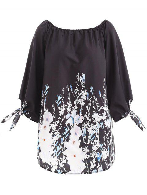 Knot Sleeve Floral Top - BLACK L