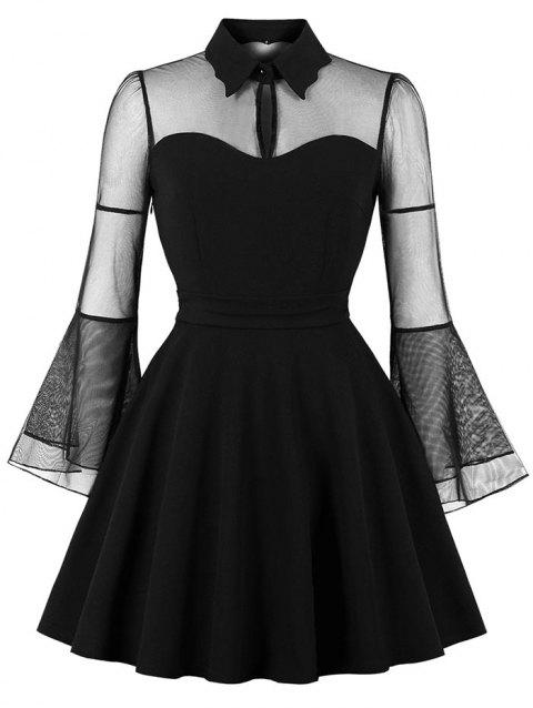Mesh Panel Bell Sleeve High Waist Dress - BLACK S