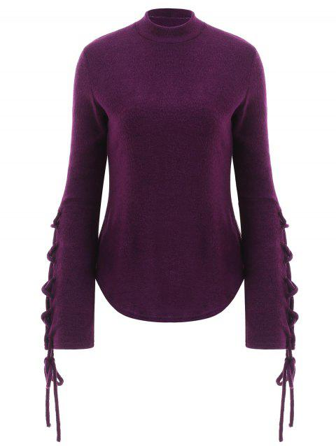 Mock Neck Lace-up Sweater - PURPLE 2XL