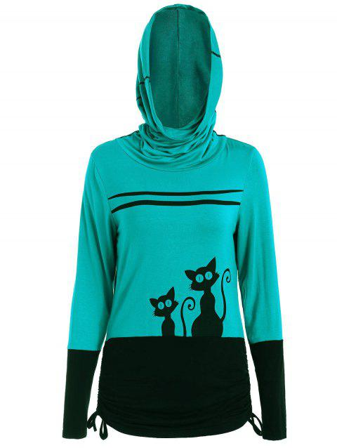 Halloween Black Cats Long Sleeve Hooded T-shirt - SEA GREEN S
