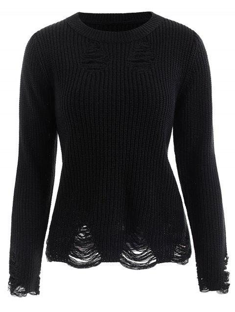 Long Sleeve Distressed Sweater - BLACK XL