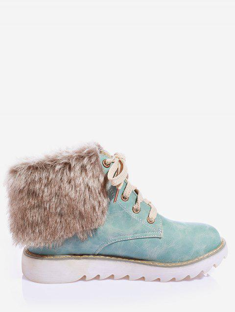 Plus Size Lace Up Faux Fur Ankle Boots - BLUE KOI 41