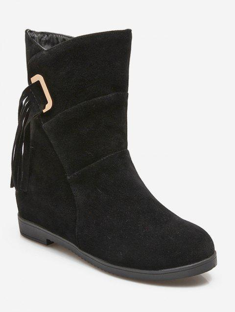 Plus Size Tassels Sewing Ankle Boots - BLACK 43
