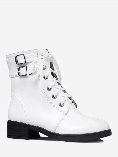 Plus Size Lace Up Buckle Strap Ankle Boots - WHITE 43