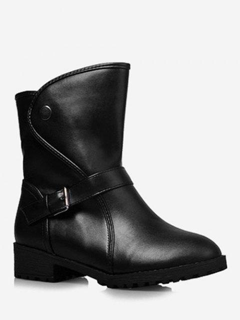 Plus Size PU Leather Buckle Strap Boots - BLACK 37
