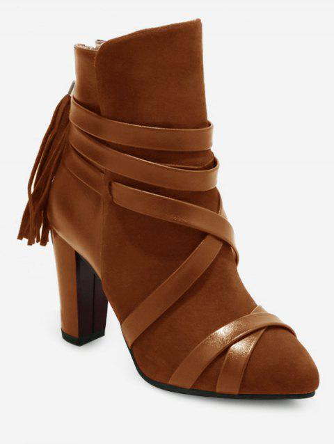 Plus Size Cross Strap Pointed Toe Ankle Boots - BROWN 39
