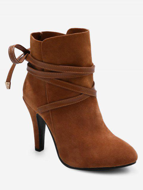 Plus Size Bowknot High Heel Ankle Boots - BROWN 39