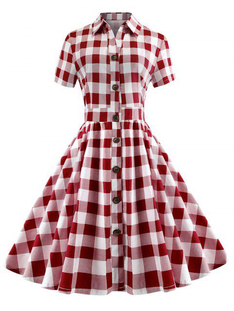 Plaid Short Sleeve A Line Dress - RED L