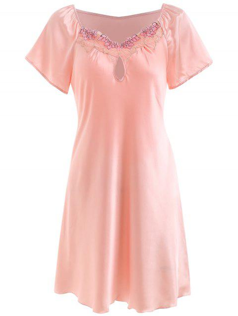 Satin Keyhole Sleeping Dress - PINK 3XL