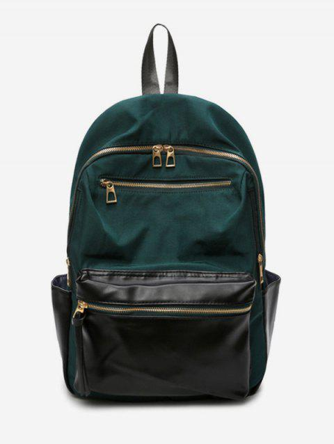 Contrast Color Zip Pocket Travel Backpack - MEDIUM SEA GREEN