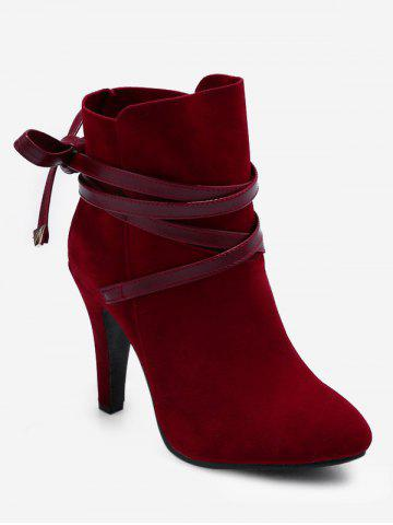 42b90310e12fab Plus Size Bowknot High Heel Ankle Boots