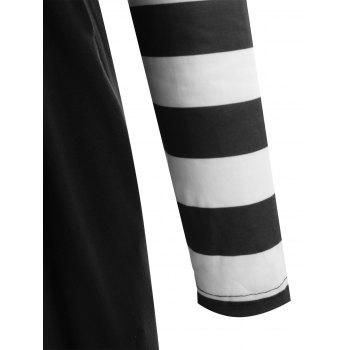 Long Sleeve Striped Panel Maxi Dress - BLACK S