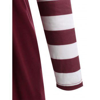 Long Sleeve Striped Panel Maxi Dress - RED WINE M
