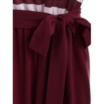 Long Sleeve Striped Panel Maxi Dress - RED WINE 2XL