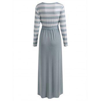 Long Sleeve Striped Panel Maxi Dress - GRAY S