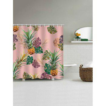 Tropical Leaf Pineapple Print Waterproof Shower Curtain - PINK W71 INCH * L71 INCH