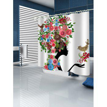 Flowers and Birds Girl Print Waterproof Shower Curtain - WHITE W71 INCH * L79 INCH