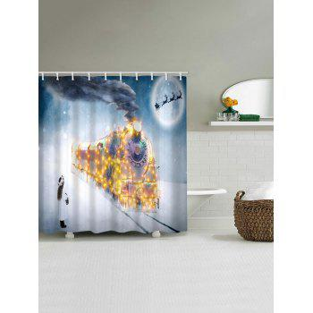 Christmas Night Train Print Waterproof Shower Curtain - WHITE W59 X L71 INCH